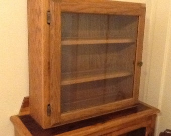 Oak Display Cupboard Glass Front Hand Made