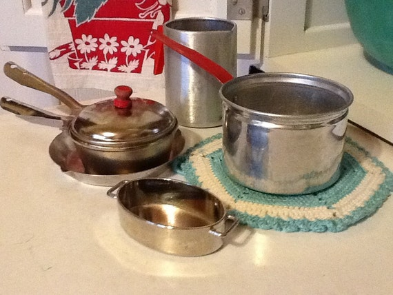 Toy Pots And Pans : Set of vintage toy pots and pans pitcher by thepuppydogtails