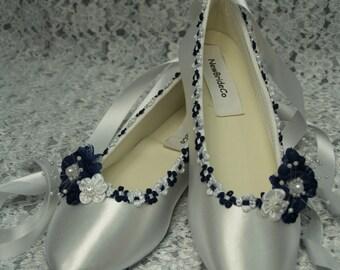 Wedding Flat shoes Navy Blue trims on Ballet style slipper, White Navy blue Bridal Flat shoes, Nautical, Marine, Sailor Navy Blue Trim