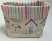 Fabric basket organiser beach hut fabric basket handmade organiser tidy basket handmade in uk