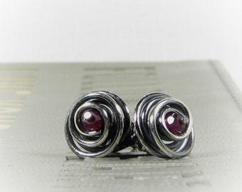 Silver Garnet Stud Earrings, Silver Spiral Post Earrings, Garnet Stud Earrings, January Birthstone Jewelry Item E887