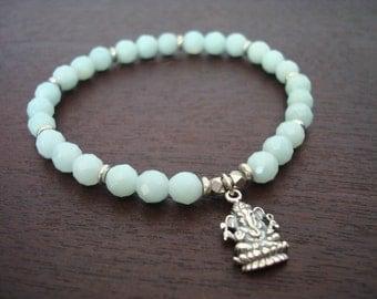 Women's Spiritual Healing Mala Bracelet - Amazonite, Sterling Silver Ganesha Mala Bracelet - Yoga, Jewelry, Meditation, Prayer Beads