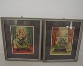 Retro Oriental Floral Vignette Lithographs, Framed By Reliance Industries Chicago, Circa 1940's, Mid-Century Home Decor