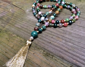 Parvati - Fancy Jasper Mala, Meditation Beads