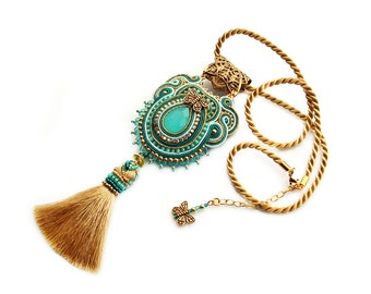 Soutache hand mde embridery statement pendant - elegant and unusual jewelry - Princess Jasmine