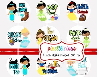 Chore Chart Digital Bottle Cap Images - PRINCESS 1 - Chore Chart with 30 Chores -  1 Inch Digital Collage - Instant Download