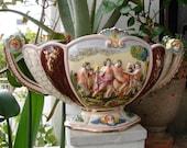 antique,centrepiece bowl,Capodimonte cherubs,faun,angels-numbered & signed,raised porcelain-putti
