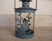 shabby blue,tin bird  on branch design,small metal tea light/candle holder with handle.Shabby chic