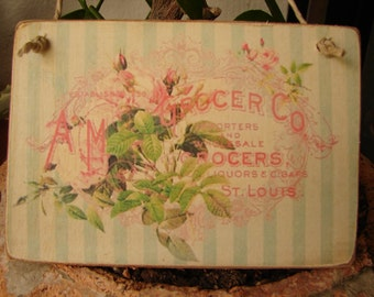 shabby chic, French text on vintage roses advertising design, wooden tag, dresser, door hanger.