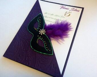 Quinceañera Mardi Gras invitations, Sweet16, birthday invitations, Quince invite,  grape, glittered in gold & green.