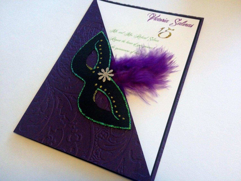 Quinceañera Mardi Gras invitations Sweet16 birthday