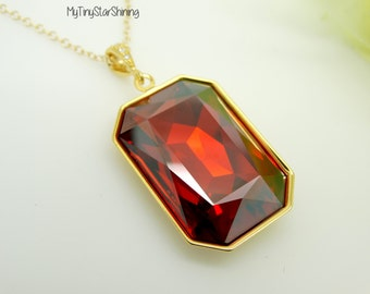 Big Red Necklace Crystal Swarovski Pendant Necklace Long Red Necklace red swarovski jewelry Red Magma Necklace Gold  Necklace RT