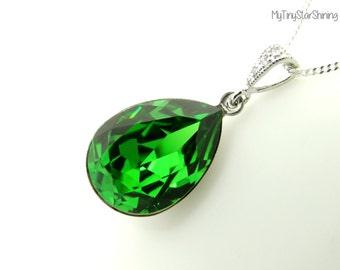 Green Necklace Swarovski Crystal Necklace Fern Green Necklace Sterling Silver Chain Necklace Bridesmaid Gift