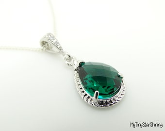 Green Emerald Necklace Bridesmaid Gift  Green Necklace Sterling Silver Necklace Wedding Jewelry Bridal Necklace