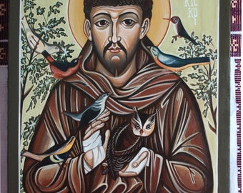 Saint Francis of Assisi. Handmade painting. Catholic icon, traditionally represented. Only on order.