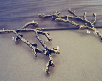 10pcs Antique gold tree branches (with 8 hole) pendant charm 27mmx60mm