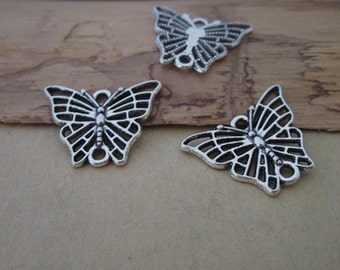 25pcs Antique Silver butterfly  pendant Charms 17mmx22mm