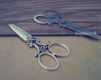12pcs  Antique silver Scissors Charms pendant 22mmx60mm