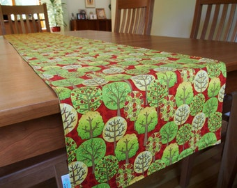 Fall Table Runner with Apple Trees and Leaves in Red, Green, Yellow, Orange, Aqua, Fall Fun Fabric