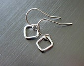 Small Sterling Silver Open Diamond/Square Earrings - Simple - Casual - Contemporary