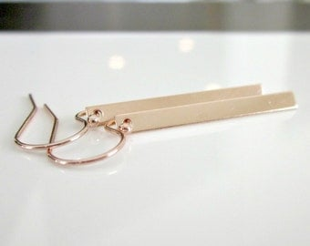 Skinny Rose Gold Bar Earrings - Simple - Contemporary - Minimalist