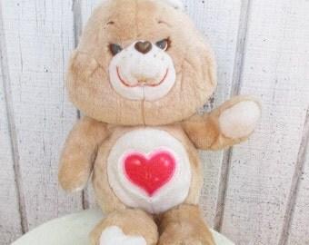 Vintage 80's Care Bear Doll Tenderheart Care Bear Brown Hear Bear 80's Toy Cartoon Stuffed Animal