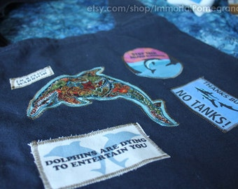 Navy dolphin warrior farmer's market bag~ raise awareness about dolphin captivity with this pigment dyed farmer's market bag