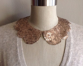 Bronze Sequin Peter Pan Collar Necklace, with Scallop Shape and Jewelry Clasp Closure