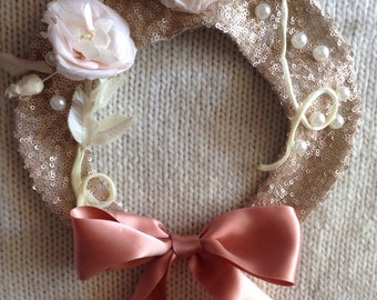 ONE of a Kind: Silk Flower and Pearl Embellished Peter Pan Collar Necklace with Adjustable Satin Bow Closure