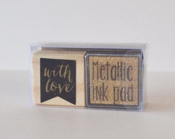 Rubber Stamp Wood Mounted Valentines Stamp Typography Stamp Gold Stamp With Stamp Pad