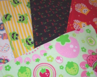 5 Piece Fat Quarter 100% Flannel Cotton Print Fabric - #6