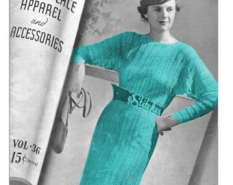 1930s Dress with Dolman Sleeves - 1 Hairpin Lace pattern PDF 2369