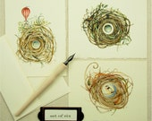 greeting card set blank nests ship bird balloon all occasion