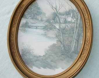 Vintage Golden Oval Plastic Frame with Scenery Print
