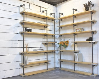 Peter Bespoke Adjustable Honey Stained New Pine and Dark Metal Pipe, Floor and Wall Mounted, Corner Shelving Unit - www.inspiritdeco.com