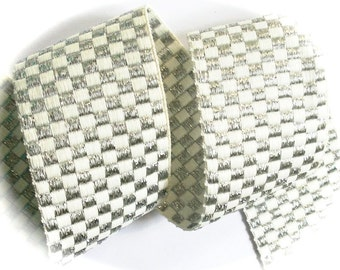 """Checked  Ribbon - 2"""" x 1 yard - Silver and White- Super Silky and Soft Ribbon - Gorgeous - 1 available"""