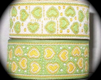"Woven Ribbon - 1"" x 3 yards Yellow and Green Reversible Hearts"