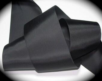 "Rayon Ribbon 3"" x 3 yards of Black Taffeta 100% Rayon Ribbon"