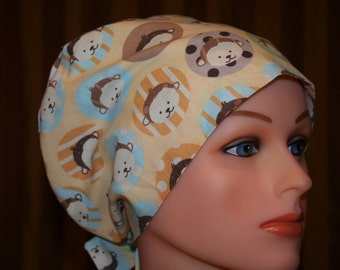 Tie Back Surgical Scrub Hat/Chemo Hat--Beary Cute