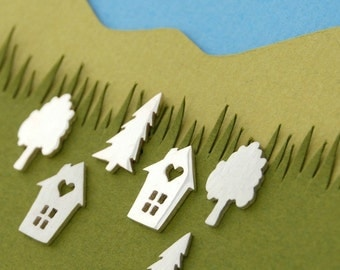 Neighbourhood studs - sterling silver house and tree studs