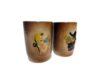 SALE Vintage Hillbilly Mugs - Vintage Moonshine Ceramic Cups, Mid Century Drinkware, Drunk Maw & Paw, Rednecks, Country Western Couple