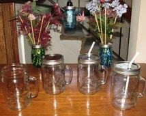 Ball Mason Jar 24oz WIDE Mouth Drinking Glass Mug with Handle - Tumbler, Sipper, To Go Cup - Your Choice of Lid Style