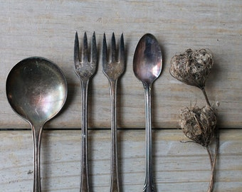 Vintage silverplate spoon fork set / rustic home decor / collectible decor / silver with patina / set of four / Victorian style table decor