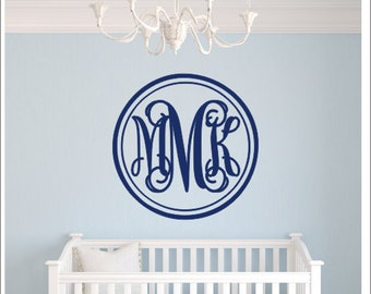 Vine Monogram Decal Vinyl Monogram With Border Dot Circle - Monogram wall decals for nursery