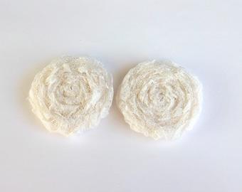 2 Ivory Lace Fabric Rosettes Embellishment