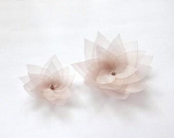 2 Champagne Organza Flowers Embellishment