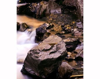 Creek water fall with fall colors aspen leaves Colorado fine art photograph print 16x24