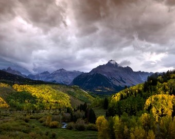 Dallas Divide sunset fall colors aspen leaves mountains Colorado fine art photograph print 16x24