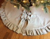Linen Christmas Tree Skirt - ruffled gathered trim, tie closure, Holiday Christmas Decorations, Neutral Christmas Decor
