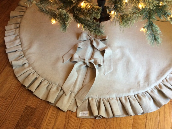 Linen Christmas Tree Skirt Ruffled Gathered Trim Tie